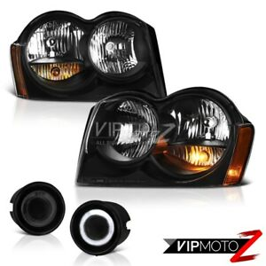 For 05 07 Jeep Grand Cherokee Laredo Headlamps Graphite Smoke Fog Light Assembly