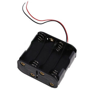 12v Battery Clip Slot Storage Holder Box Case For 8 Aa 2a Battery With Wire Lead