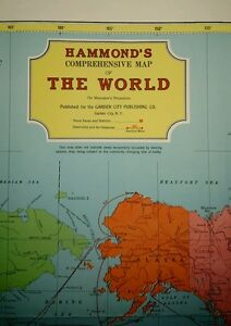 Vintage Large Hammonds Comprehensive Map Of The World On Mercator S Projection