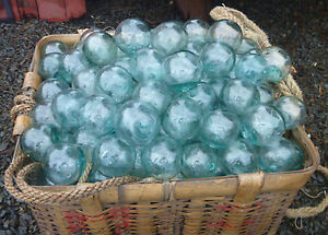 Japanese Glass Fishing Floats 2 Lot 15 Round Seal Button Balls Authentic Vntg