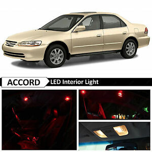 12x Red Interior Led Lights Package Fits 1998 2002 Honda Accord Sedan