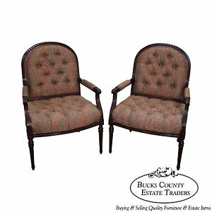 Quality Pair Of French Louis Xvi Style Open Arm Chairs Fauteuils