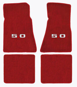 1979 1993 Ford Mustang Red 4pc Front Rear Floor Mats Set 5 0 Logo In Silver