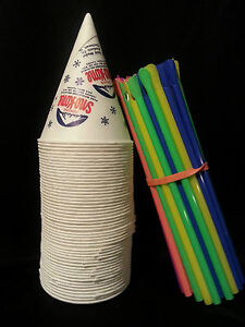 50 Snow Cone Cups Gold Medal Brand With Spoon Straws