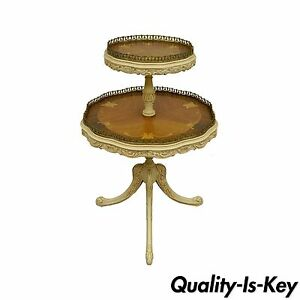 Vintage French Louis Xv Carved Satinwood Inlaid 2 Tier Lamp Side Accent Table