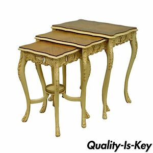 3 Vintage French Louis Xv Carved Satinwood Inlaid Nest Of Nesting Side Tables