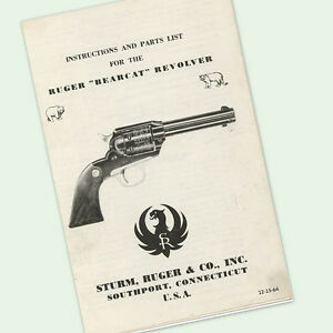 RUGER BEARCAT REVOLVER INSTRUCTIONS PARTS OWNERS MANUAL DIAGRAMS VIEWS ASSEMBLY $6.97