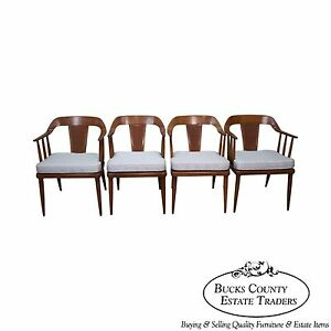 Sophisticate By Tomlinson Set Of 4 Mid Century Walnut Curved Back Dining Chairs