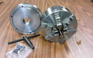 6 6 jaw Self centering Lathe Chuck W Solid Jaws W 1 1 2 8 Adaptor new