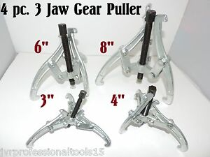 New 4 Pc Three Jaw Gear Puller 3 4 6 8