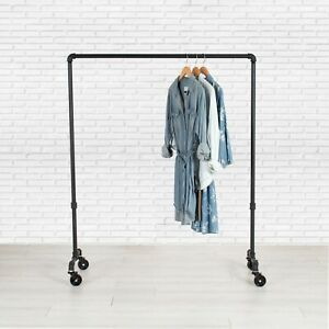 Industrial Pipe Rolling Clothing Rack By William Robert s Vintage 36 Wide
