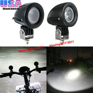 2x Cree Led Work Lights 10w Spot Flood Offroad Driving Fog Lights Motorcycle Atv