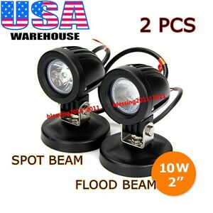 2pcs 10w Cree Led Work Lights Flood Spot Offroad Driving Fog Lamp Motorcycle 4wd