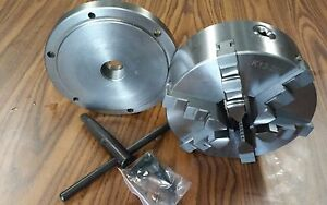 8 6 jaw Self centering Lathe Chuck W solid Jaws W 1 1 2 8 Adapter new