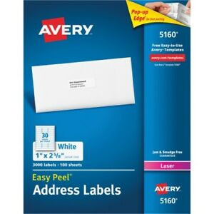 Avery Easy Peel White Address Labels Laser Printers 30 Labels sheet 100 Sheets