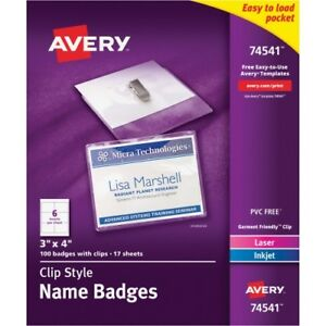 Name Badges w Clip top Load 3 x4 100 bx white Ave74541