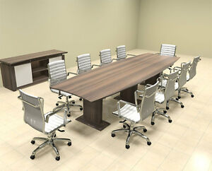 Modern Contemporary Boat Shaped 12 Feet Conference Table mt ste c11