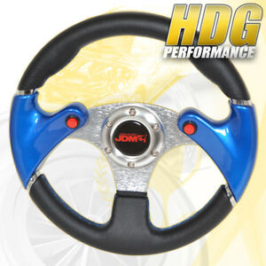 For Nissan Drift Racing Blue Sew Black Pvc Leather Steering Wheel Nos Button