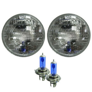7 Inch Round Glass Lens Conversion Headlight W city Light W Halogen H4 Bulb Set