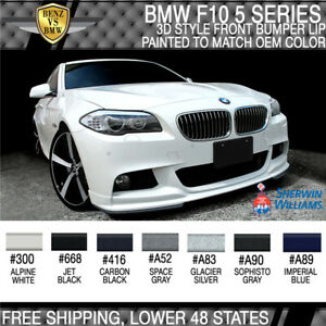Fits 11 16 Bmw F10 5 Series 3d Style Mtech Front Bumper Lip Painted To Oem Color