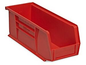 Red Stackable Storage Bin 11 l X 4 w X 4 h Lot Of 12 s 13536r