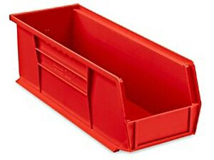 Red Stackable Storage Bin 15 l X 5 1 2 w X 5 h Lot Of 12 s 12418r