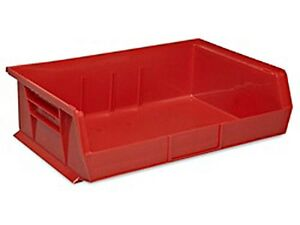 Red Stackable Storage Bin 11 l X 16 1 2 w X 5 h Lot Of 6 S 13537r