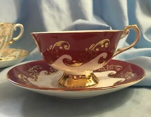 Rosina Queens Emperor Teacup And Saucer Gold Scrolls Gold Foot
