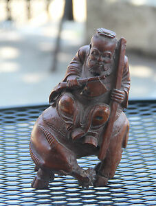 Very Beautiful Chinese Hand Carved Bamboo Old Man Rides The Ox Statue