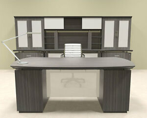7pc Modern Contemporary Executive Office Desk Set mt ste d13