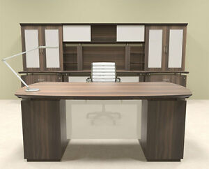 7pc Modern Contemporary Executive Office Desk Set mt ste d14