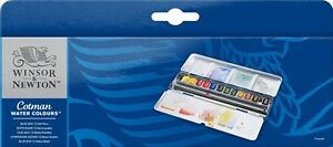 Windsor Newton Cot Man Watercolor Half Pan Set 12 Color Blue Japan F S J2580