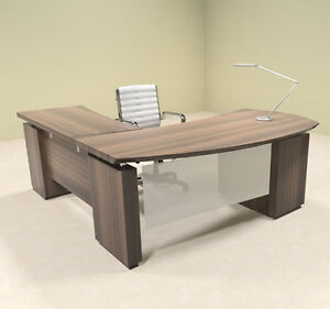 4pc Modern Contemporary L Shaped Executive Office Desk Set mt ste l2