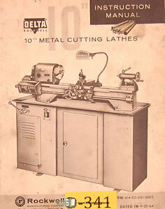 Delta Rockwell 10 Metal Cutting Lathes Instructions Manual 1964