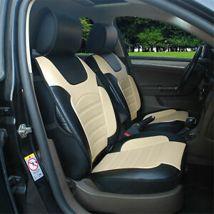 2 Front Car Seat Cover Cushion Black beige Pu Leather For Buick 802e