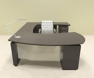 5pc Modern Contemporary U Shaped Executive Office Desk Set mt ste u3