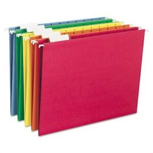 Hanging File Folders 1 5 Tab 11 Point Stock Letter Assorted Colors 25 box 3pk
