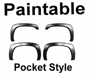 Chevy Silverado Fender Flares Pocket Style Set Of 4 For 02 06 Truck Paintable