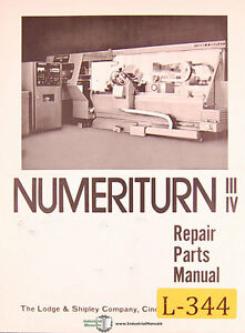 Lodge And Shipley Numeriturn Nt Iii And Nt Iv Machine Center Parts Manual 1989