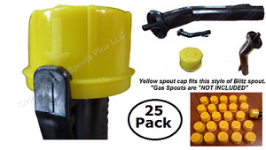 25 pack New Blitz Yellow Spout Caps Fits Self venting Gas Can Spouts Check Pics