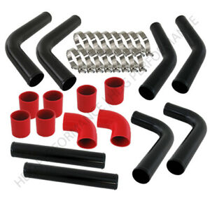 Universal Diy 8pc 2 5 Turbo Intercooler Black Piping Kit With Red Couplers