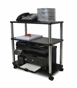 Workstation Laptop Printer Cart Rolling Computer Stand Portable Office Fax Table