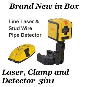 Dual Cross Laser Line Level Cubix Leveler W Stad Detector Metal Finder W Clamp