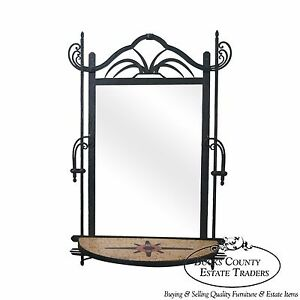 Hand Wrought Iron Southwest Hanging Mirror W Demilune Marble Console
