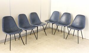 Set Of 6 Eames Era Herman Miller Wire Dkx 1 Dowel Legs Chairs Blue Set Covers