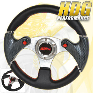 Jdm Carbon Fiber 6 Hole 320mm Pvc Leather Racing Steering Wheel Nos Button Jdm