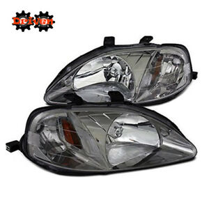 For 99 00 Honda Civic Jdm Gun Metal Gray Housing Headlights W Amber Reflector
