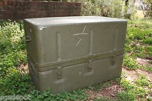 Used Us Military Aluminum Storage Set Chest Metal Container Od Waterproof Green