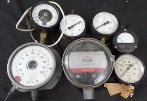 Vintage Gauges Meters Honeywell Ashcroft Steampunk Lot Of 7