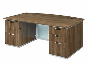 New Pimlico Walnut Modern 6 Bowfront Executive Office Desk With Glass Panel